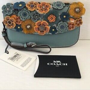 NWT Coach Steel Blue Clutch